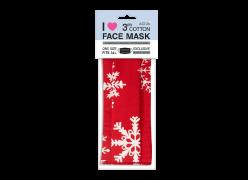 Хоризонтална червена маска със снежинки